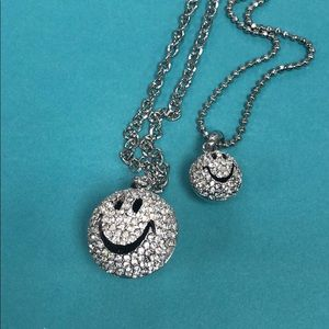 """Smileys"" Pavé Crystal Rhodium Necklace-NWT"